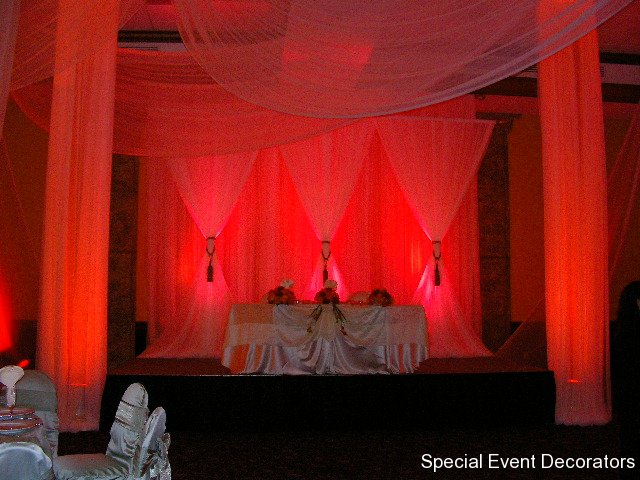 Double Diamond Backdrop with Fabric Columns