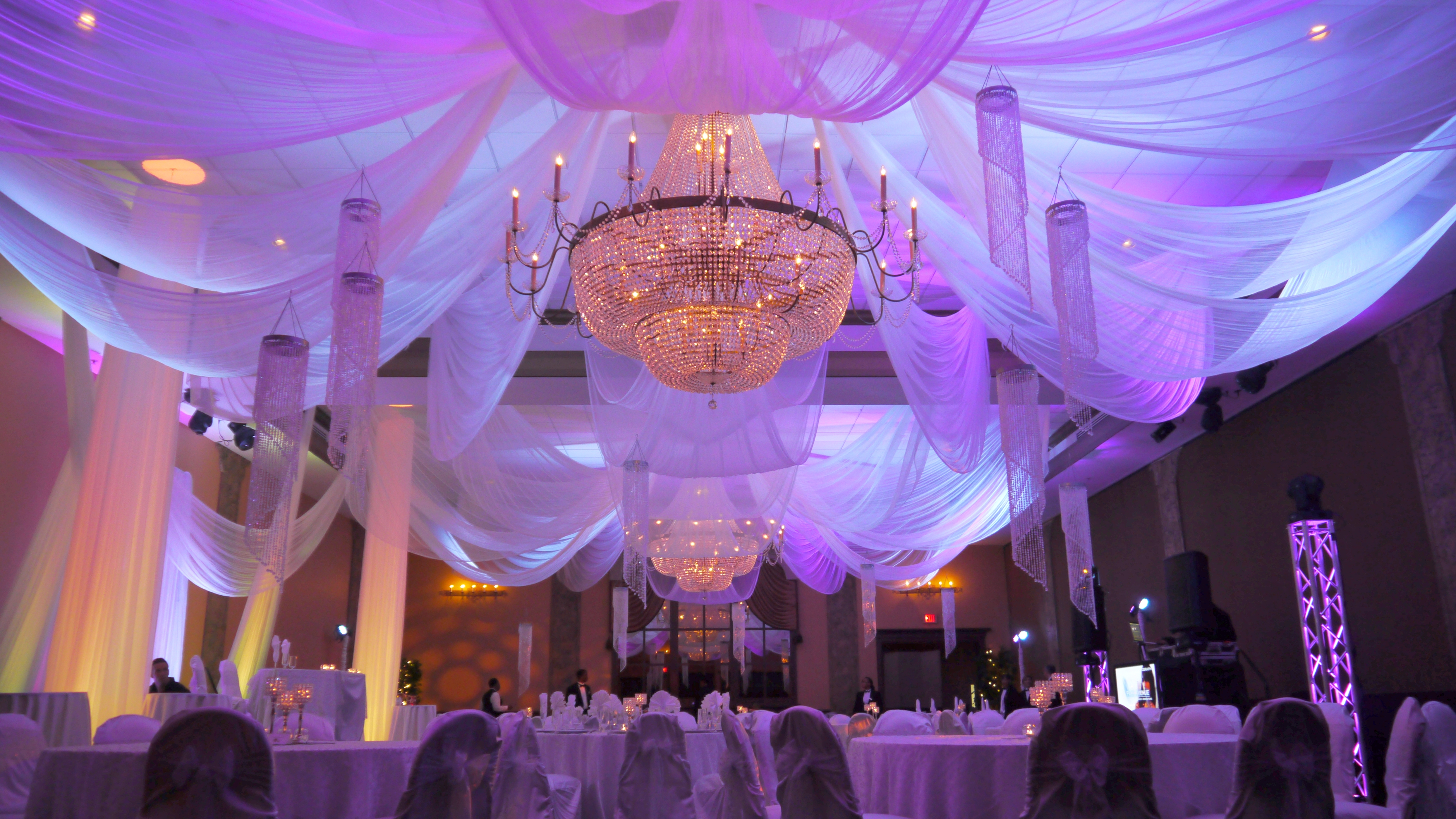 to more drape chandelier hang swag for voile greenville the and how sc decor behind scenes diy of drapes ceiling events event
