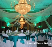 Teal Package Style Center Point Drape