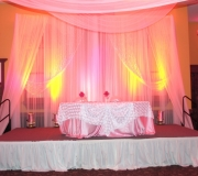 Pink Mini Royal Backdrop with Crystal Columns and Crystal Curtains